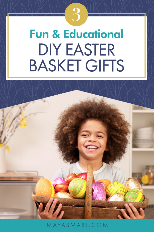 graphic of little boy holding easter basket