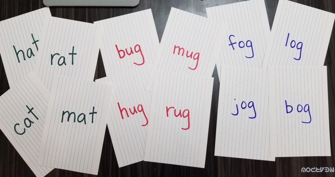 words written on index cards for Rhyming Go Fish
